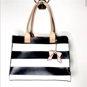 Kate Landry black & white tote w/pink bow